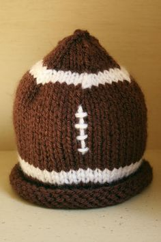 knit baby hat football made from itty bitty hats pattern $