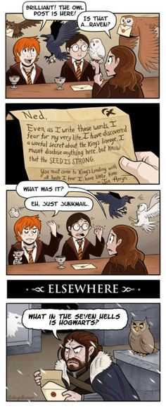 Harry Potter/Game of Thrones Comic - Hogwarts Should Just Get Mailmen Harry Potter Crossover, Serie Got, Film Serie, Ridiculous Harry Potter, Game Of Trone, Harry Potter Games, My Sun And Stars, Mischief Managed, Fantastic Beasts
