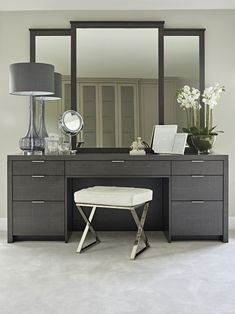 Bespoke made modern dressing table - in grey dyed rippled sycamore for Luxury master bedroom featuring three large portrait framed mirrors. In the mirror's reflection, custom fitted grey wardrobes Modern Bedroom Furniture, Bespoke Furniture, Contemporary Bedroom, Furniture Ideas, Inexpensive Furniture, Furniture Websites, Bedroom Modern, Deco Furniture, Furniture Makeover