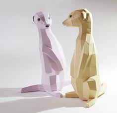 Objets de décoration, Suricate kit de papercraft bricolage est une création orginale de paperwolf sur DaWanda