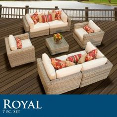 "Royal 7 Piece Outdoor Wicker Sofa Sectional Patio Set by TK Classics. $2944.00. Ultra Deep seating modular sectional, allows for a variety of creative configurations. High Density PE (polyethylene) recyclable wicker - NOT made with PVC which is toxic and non-recyclable. (4) Corner Sofa - 35"" W x 35"" D x 26"" H (1) Coffee Table - 27"" W x 27"" D x 12"" H (2) Club chair - 34""W x 36""D x 26""H Throw Pillows **NOT INCLUDED**- Call for available options. Comes Standard with Sunbrella ..."