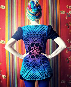 Tie-dye Effect Flower Mandala Vest - Pink To Teal | Flickr - Photo Sharing!