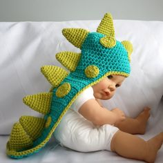 Dinosaur Baby Hat with Tail and Horns, Dragon Baby Hat, Crochet Costume, Photo Prop -  Newborn to 12 months. $30.00, via Etsy.