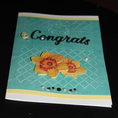 Congrats Daffodil 3D Flowers handmade blank by lilyofthevall77