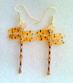 Tiger Winged Dragonfly Earrings by Originalsbydenise on Etsy, $15.00