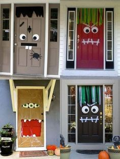 Halloween Party Ideas: Looking For A Way To Spook Your Guests Before They Even Step Foot In The House? Here Are 18 Monster Door Ideas! A Sure Way To Freak Out Your Friends On The Doorstep…These Halloween Door Coverings Are Cheap, Colorful And Such Fun To Deco Porte Halloween, Soirée Halloween, Adornos Halloween, Manualidades Halloween, Holidays Halloween, Homemade Halloween, Women Halloween, Halloween Projects, Halloween Recipe