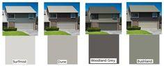 render trend colours - Google Search Roof Colors, House Colors, Colour Schemes, Color Trends, Colorbond Roof, Garage Door Paint, Exterior Paint Colors, Paint Colours, Facade House