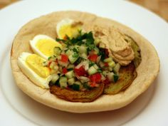 """Dinner Tonight: Sabich (Eggplant Sandwich with Hard Boiled Eggs) 