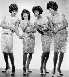 "The Marvelettes - Gladys Horton, Wanda Young (Rogers), Georgeanna Tillman (Gordon) and Katherine Anderson (Schaffner) in New York City, circa 1964. I just watched their story on Unsung - did you see it? My favorite song by The Marvelettes is ""Don't Mess With Bill"" - primarily because there is a murder scene in one of my scripts that fits it to a tee. Long story… Photo by James Kriegsmann. Michael Ochs Archives/Getty Images."