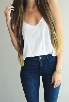 Tank and skinny jeans