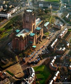 Aerial view of the Anglican Cathedral, Liverpool, England Liverpool England, Liverpool Town, Liverpool Docks, Liverpool History, Liverpool Cathedral, Liverpool City Centre, Beatles, Anglican Cathedral, Living In England