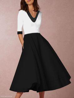 e8427a034b V-Neck Plain Skater Dress