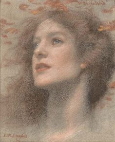 """With the Wind"" ~ Edward Robert Hughes ~ (English 1851-1914)"