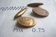 Oval Vintage cufflinks - retro 1960s brass - etched detail from the UK