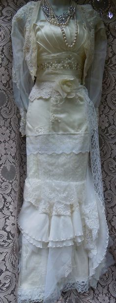Ivory mermaid dress wedding beaded tiered lace ruffles  vintage tulle bride outdoor  romantic small by vintage opulence on Etsy