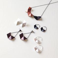 Sterling Silver Stud Earrings Small Geometric Silver by RawObjekt