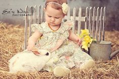 Yellow Chiffon flower headband pastel by FlourishingCreations, $6.95--OMG DREAM PHOTO!! Where can I get a bunny?!?