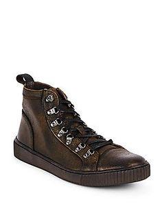 John Varvatos Star USA Textured Leather Sneakers - Whiskey - Size