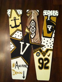 Custom Hand Painted Vanderbilt University/Anchor Down Door Hanger/Wall Art