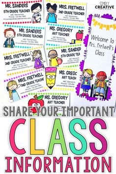 Get ready for back to school season with these editable brochures and teacher information contact cards. These classroom tools are great for back to school night, open house, and meet the teacher nights. These ideas are perfect for first grade, 2nd grade, and all K-5 classrooms.