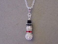 Crystal Pave SNOWMAN Necklace Bling snowman pendant necklace - Choice Silver or Gold Christmas Jewelry Necklace by magiccloset on Etsy