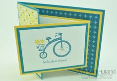Marsha Hulland - Smudge Smudge....Ink Ink!: Joy Fold Card - Summer Smooches DSP, Moving Forward Stamp Set, Island Indigo and Daffodil Delight Cardstock & Inkpads, Basic Rhinestones
