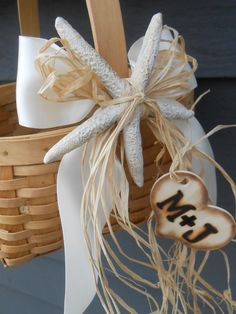 #Beach #Wedding #Decor not only for flower girls basket. Optional also for chairs etc.