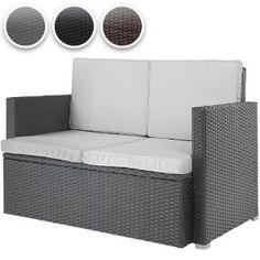 Miadomodo® RTSF02 Polyrattan Lounge Sofa for Two DIFFERENT COLOURS (Grey): Amazon.co.uk: Kitchen & Home
