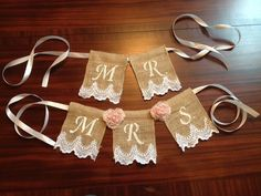 Mr and Mrs Burlap Lace Chair Banner/Wedding Decor/Bridal Shower Gift/Shabby Chic Bridal Decor on Etsy, $14.00
