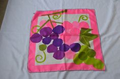 Vintage Vera Silk Square Scarf Bold MOD Hot Pink Grapes Purple Green Frame Worthy!!! by luvkitsch on Etsy