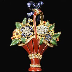 Coro (unsigned) Large Pave and Enamel Flower Basket Pin