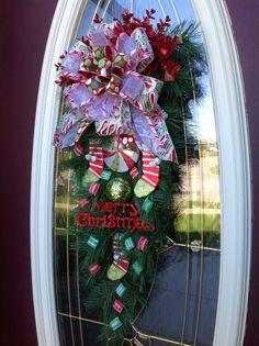 Christmas Wreath Door Wreath Teardrop by AnExtraordinaryGift. , via Etsy.