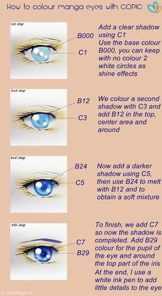 Tutorial, How to colour manga eyes with Copic, by Suki Manga Art