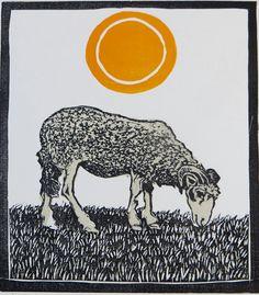 Sheep - Day (and Night) - woodblock print - LisaToth, U.S.A.