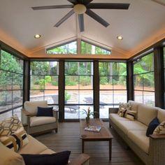 4 Season Sunroom, Three Season Porch, 3 Season Room, Porch Windows, Eze Breeze Windows, Screened Porch Designs, Four Seasons Room, Sunroom Addition, Sunroom Decorating