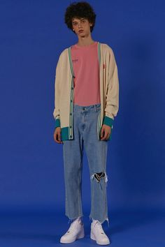 ADER styling ADER cardigan Basic ADER t-shirt pink Cutting denim pants #ader…