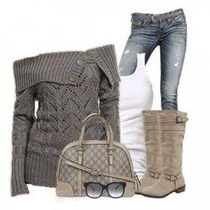 Look da giorno con maglione grigio