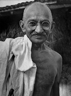 """Oxford-educated Indian philosopher, Indian independence activist and proponent of non-violent civil disobedience, Mohandas Karamchand """"Mahatma"""" Gandhi by Margaret Bourke-White"""