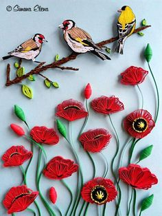 Lovely - Branch Of Birds Over Poppies