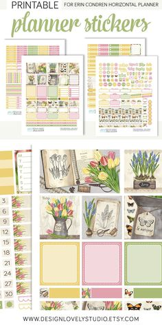 Spruce up your Erin Condren Horizontal spreads with this brand new vintage spring printable planner stickers kit from Design Lovely Studio! Summer Planner, Cute Planner, Planner Ideas, Happy Planner, Weekly Planner Printable, Printable Planner Stickers, Free Printables, Planner Supplies, Planner Decorating