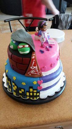 Half ninja turtles half doc mcstuffins cake