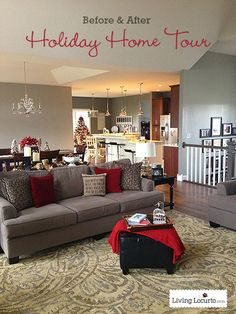 Beautiful! DIY Holiday Home Tour - Before & After Photos. LivingLocurto.com