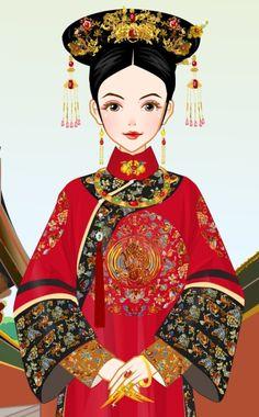 ~-堆糖,美好生活研究所 Chinese Fashion, Chinese Style, Chinese Marriage, Qing Dynasty, Snow White, Japan, Disney Princess, Illustration, Beauty