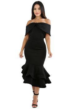c3bcf5f45c5 Black Bow Cape Off Shoulder Mermaid Bodycon Poncho Dress