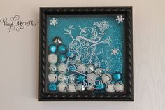 """Vinyled Shadow box with jingle bells and snowman """" let it snow"""""""