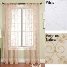 @Overstock - Add a touch of style to your decor with this Monroe sheer window panel. Featuring elegant chain stitch on organza, and available in light colors, this window panel certainly has a touch of class and will have any room looking light and airy. http://www.overstock.com/Home-Garden/Monroe-Rod-Pocket-96-inch-Window-Panel/3320003/product.html?CID=214117 $44.99