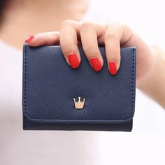 women Short Wallet credit card holder Crown decorated Small Mini PU Leather Coin Purse luxury brand wallets designer purse 2017