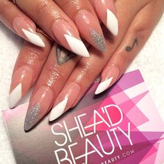 Nude nails with diamond tips by sheadbeauty #nail #nails #nailart