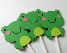 Frog Cupcake Toppers, Frog Baby Shower, Frog Birthday Party