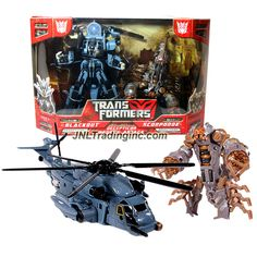 Hasbro Year 2007 Transformers 1st Movie Series 2 Pack Robot Action Figure Set - DECEPTICON DESERT ATTACK with Voyager Class BLACKOUT with Rotor Blade and Mini Scorponok (Vehicle Mode: PAVE LOW Helicopter) Plus Deluxe Class Scorponok with Drilling Pincers and Spring Loaded Stinger Attack